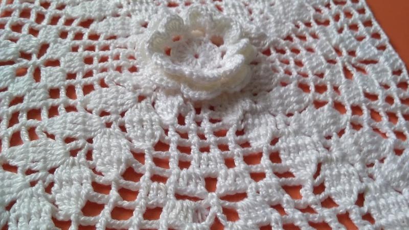 Linda flor de crochê parte 1 para caminho de mesa almofada e colchas