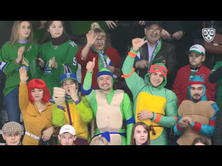 Салават Юлаев и болельщики после победы в Зеленом дерби