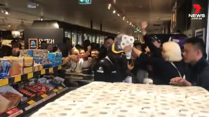 Of course these idiots causing a stampede for toilet paper at Australia store in Melburn