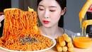 불닭볶음면 롱치즈스틱 리얼사운드먹방 / SPICY NOODLES CHEESE STICKS Mukbang Eating Show Resep Mie pedas Mì cay 火鶏焼きそば