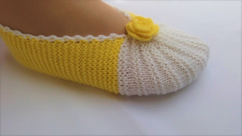 Como hacer Pantuflas con dos Agujas│Modelo de Líneas de Sandía♡Handmade Diy