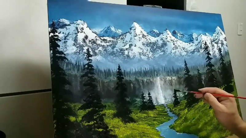 Como pintar un paisaje facil. Para principiantes. En 2 horas. How to paint a easy Landscape.