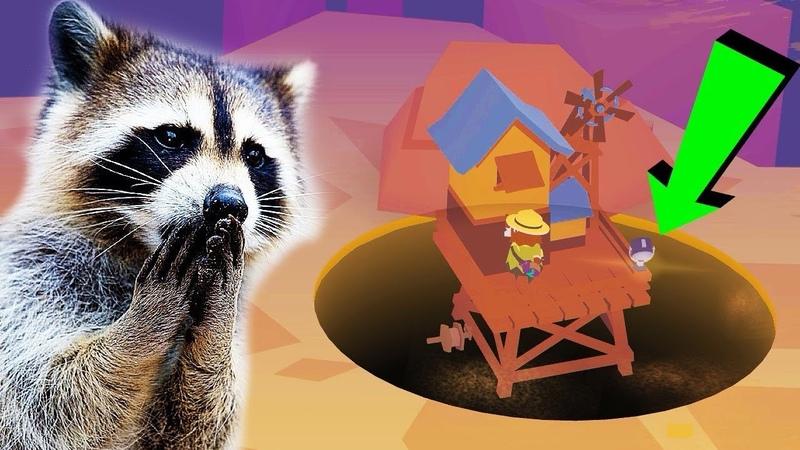 Сумасшедший Енот уничтожил город Дыры повсюду ДЫРЫ мультяшная игра Donut County