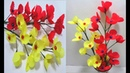 How to Make Red Yellow Shopping Bag Flowers DIY Making Flower Bunches Using Shopping Bag
