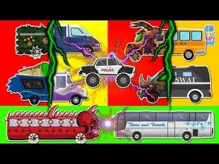 Good To Evil Transformation #w   Learn Scary Street Vehicles   Police Car   School Bus   Water Tank