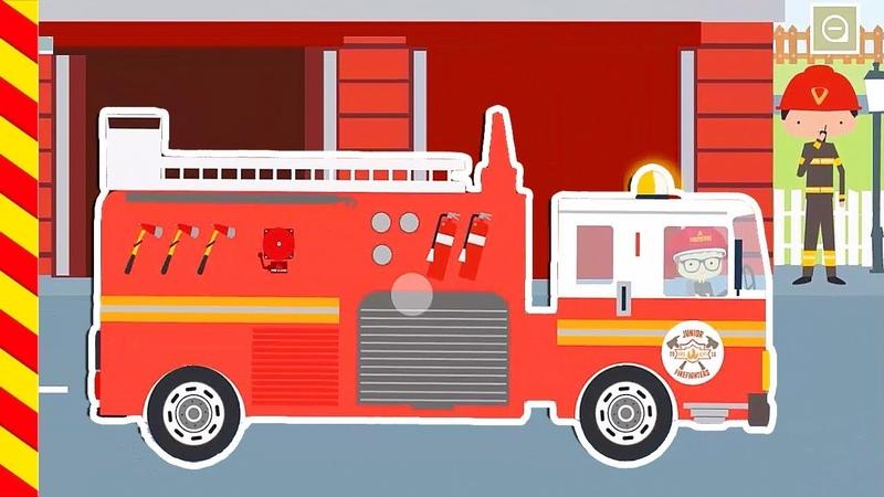 Машины убегают от большого пожара Мультик как пожарные машины тушат огонь Мультфильм про Машинки