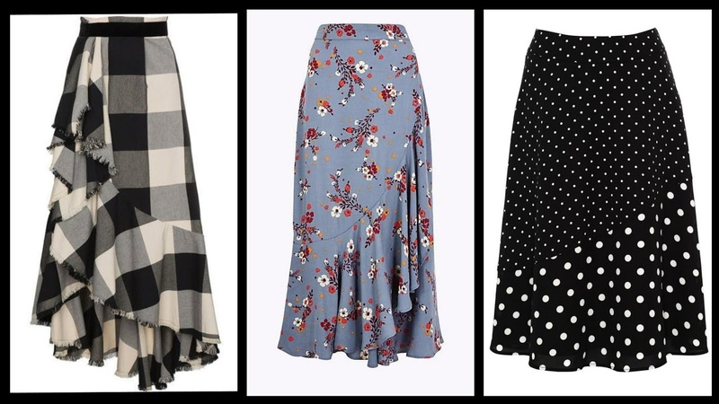 Stylish formal Skirts design with frill to wear with blouses and tops