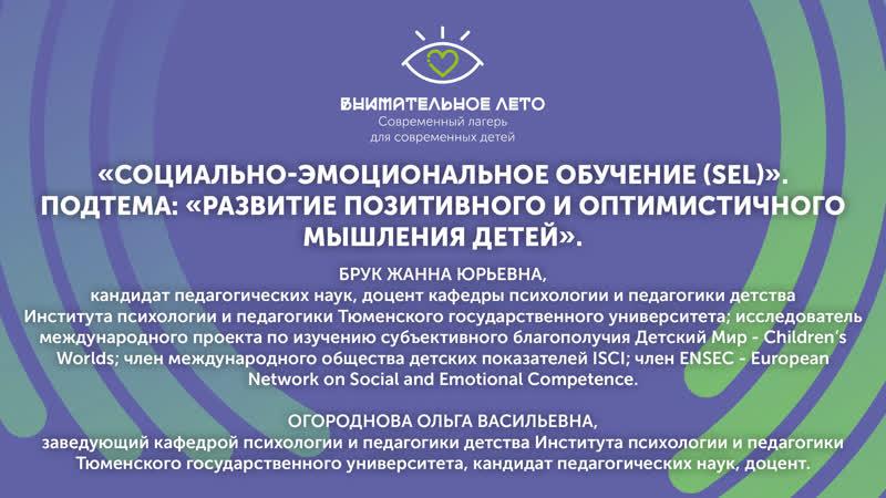 Вебинар «Социально-эмоциональное обучение (SEL)». Подтема «Развитие позитивного и оптимистичного мышления детей».