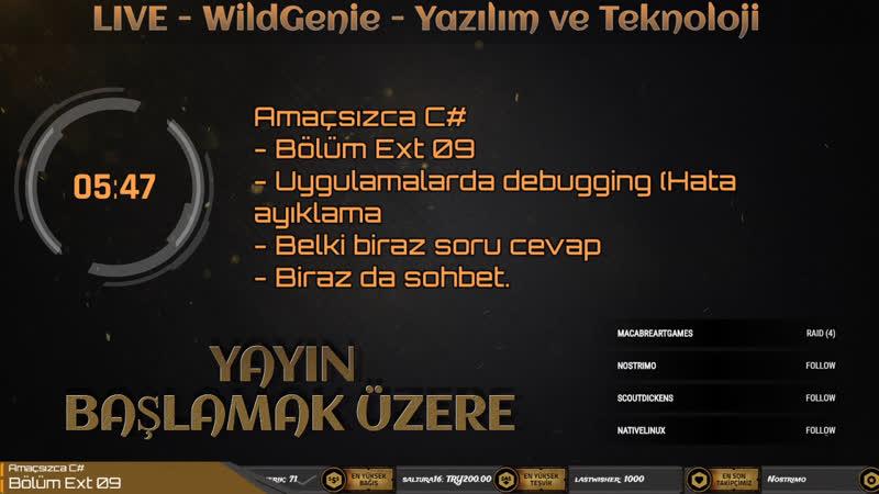 LIVE - Amaçsızca C - Bölüm Ext 09 - Debugging - WildGenie - Yazılım ve Teknoloji