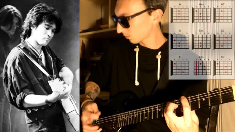 Видео урок как играть на гитаре Кино Виктор Цой Пачка сигарет cover Кино