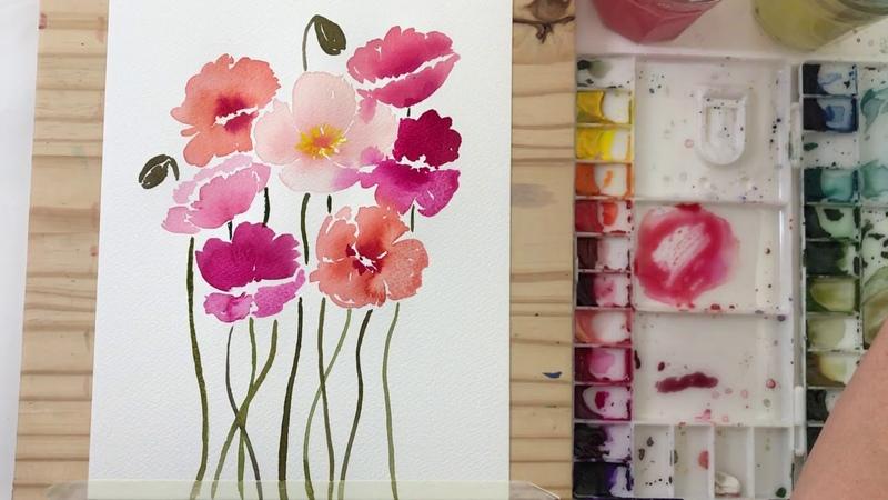 Dancing Poppies Watercolor Process Video
