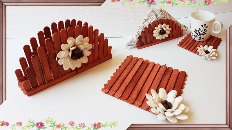 Napkin Holder And Coaster From Sticks And Pumpkin Seeds   Подставка Для Кружки И Салфетница