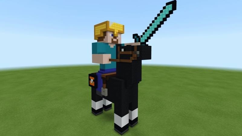 Minecraft: How To Make Steve Riding a Horse Statue Tutorial
