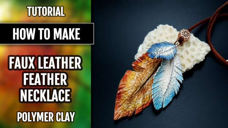 Polymer clay tutorial Faux Leather Feathers Necklace with Fimo Leather