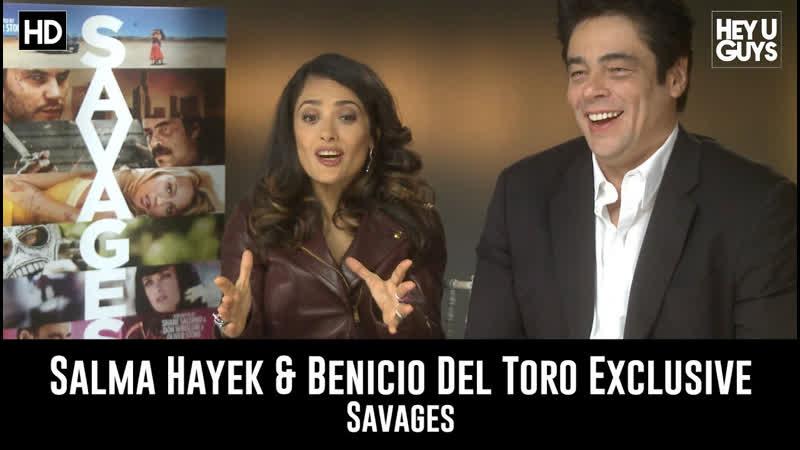 Сальма Хайек и Бенисио дель Торо в интервью для «HeyUGuys» (2012)