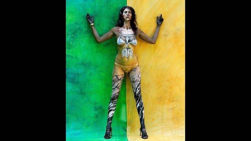 Профессиональный бодиарт на красивых женских телах часть 2 Professional body art on beautiful
