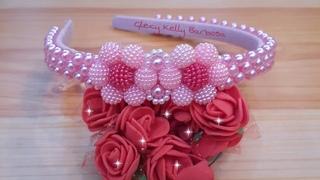 Tiara infantil de pérolas rosa elegante  Curso de tiaras Gleicy kelly