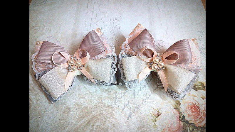 Нарядные резинки бантики из лент канзаши МК часть 1 hair clips ribbon kanzashi DIY