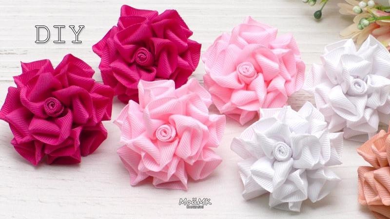 Розы из репсовых лент Канзаши DIY Rose of grosgrain ribbon Kanzashi
