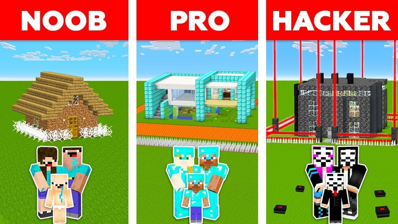 Minecraft NOOB vs PRO vs HACKER SAFEST FAMILY HOUSE CHALLENGE in minecraft Animation