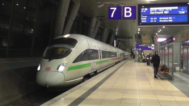 Немецкий Сапсан или электропоезд ICE сообщением Вена Дортмунд во франкфуртском аэропорту