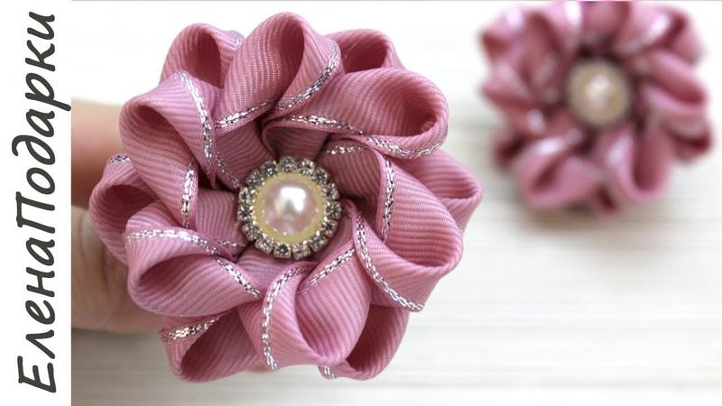 Цветок из ленты 🌸 Flor de fita Новогодние резиночки DIY Канзаши Kansasi ЕленаПодарки МК