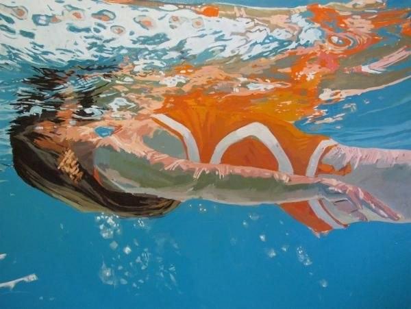 underwater painting of people by houston - 1000×752