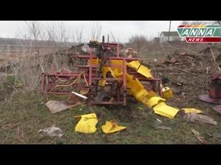пгт Фрунзе (ЛНР).30 марта,2017.Последствия ночного обстрела, убит скот