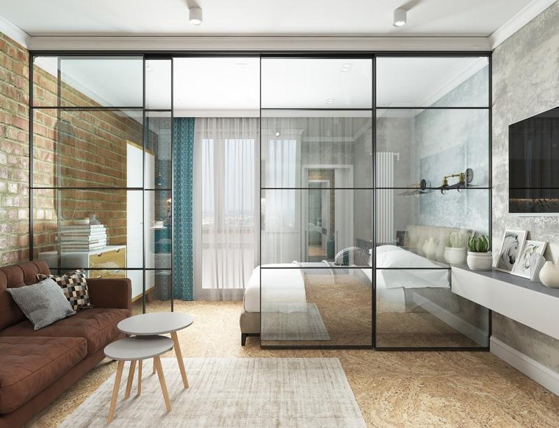 Проект квартиры 31 м (с лоджией - 34 м) с зонированием стеклянной перегородкой.