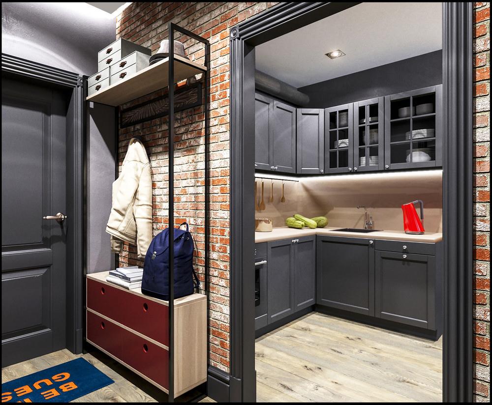 Проект квартиры 30 м в стиле лофт.