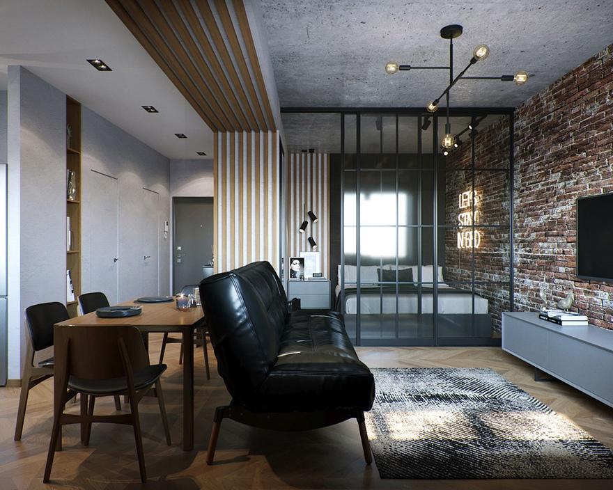 Проект квартиры-студии 37 м.
