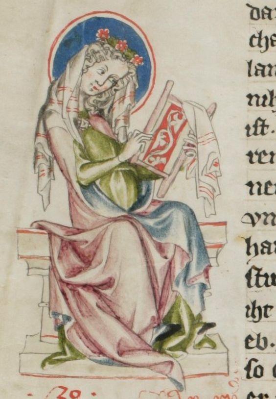 """Embroidering. At home with the virgin Mary. Austria, 1340. Schaffhausen, Stadtbibliothek, Gen. 8 @e-codices"" «Вышивание. Дома с девой Марией. Австрия, 1340 г. Шаффхаузен, Городская библиотека, Генерал. 8 @ e-codices »"