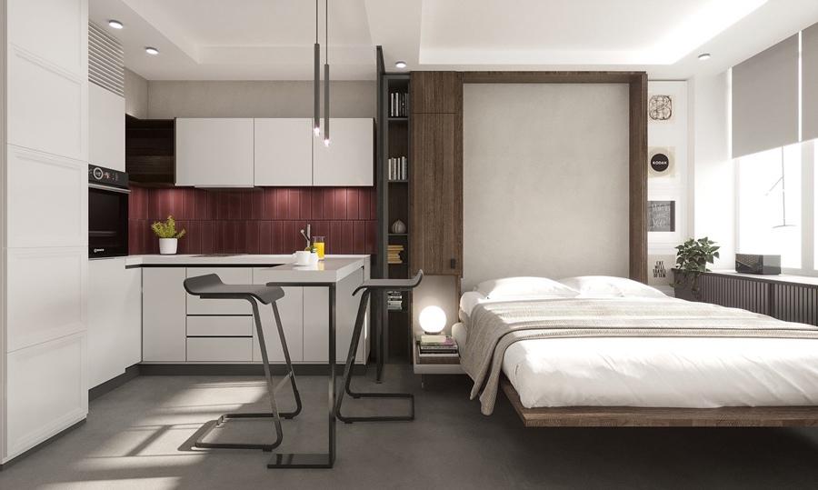 Какой вариант больше нравится: 1 (с кроватью) или 2 (с откидной кроватью-диваном)?