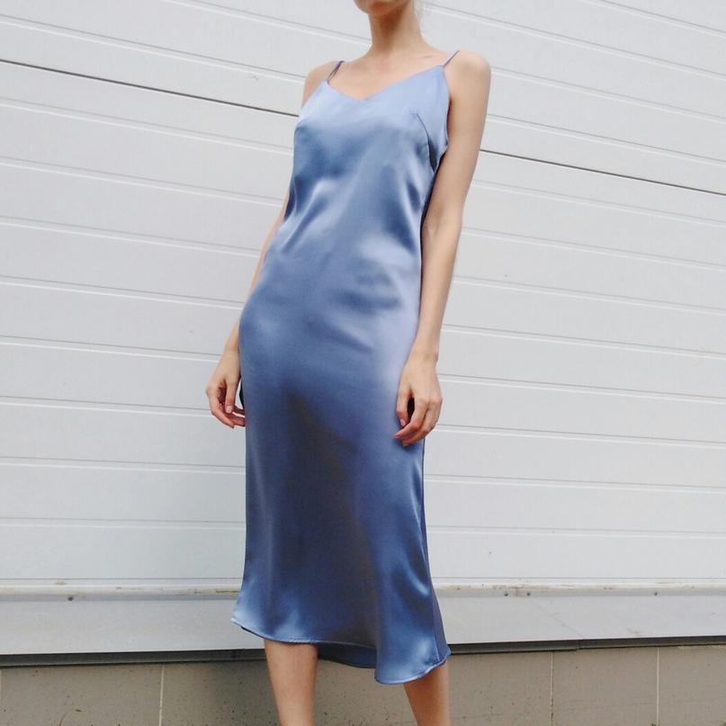 Стильное платье-комбинация цвета неба☁💙 девчата, оно невероятное❤❤