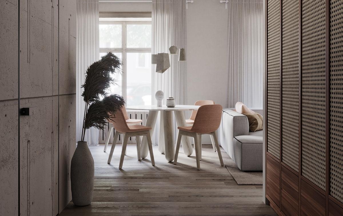 Нежный дизайн-проект квартиры квадратной планировки 34 кв.