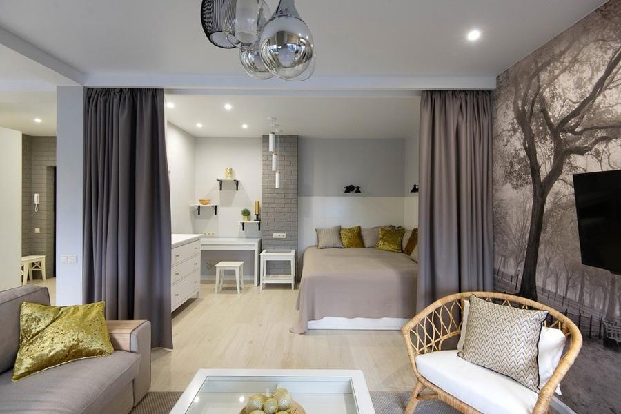Интерьер квартиры-студии 45 м для молодой пары.