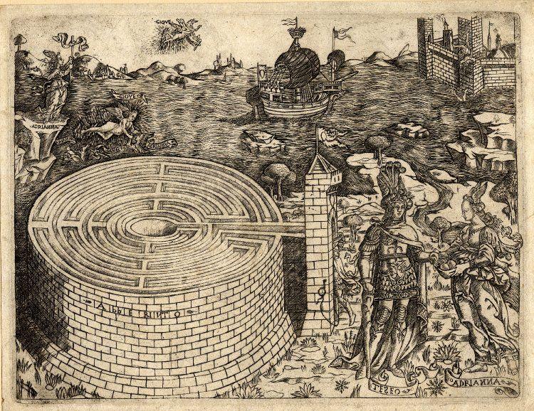 """""""Тесей и Ариадна у критского лабиринта"""", гравюра Баччо Бальдини (Baccio Baldini), XV век."""