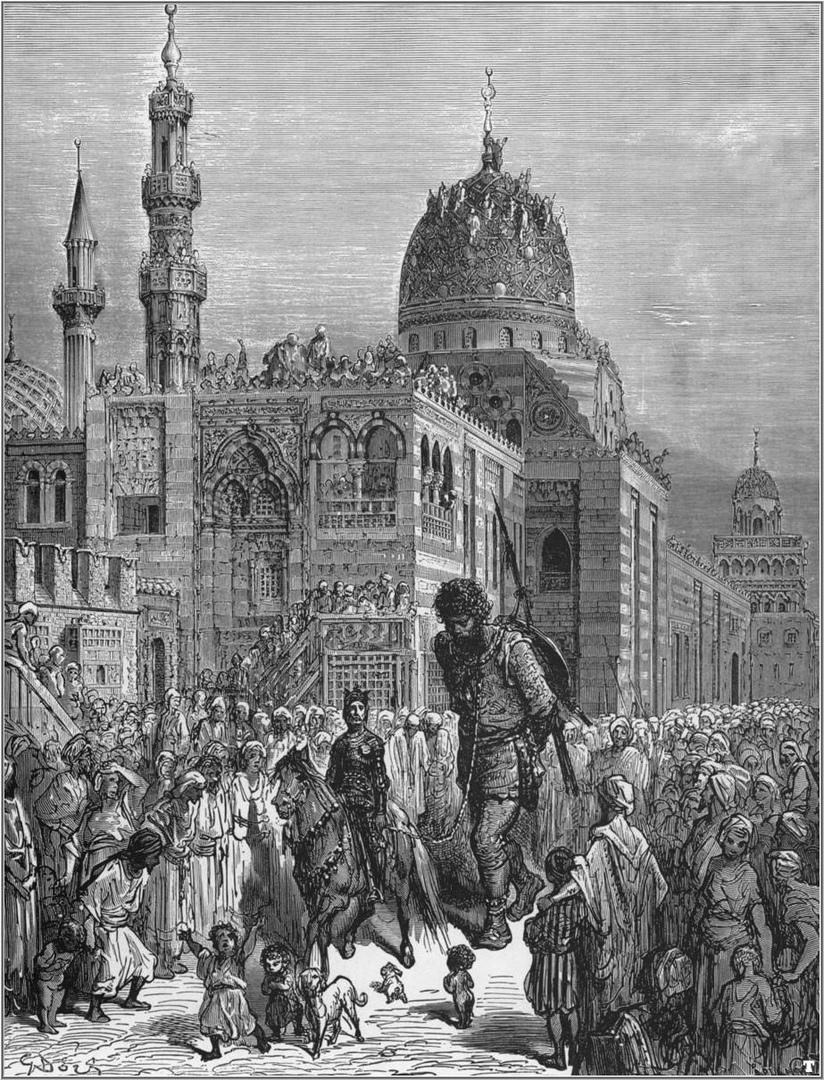 Толпа наблюдает за рыцарем с захваченным им гигантом иллюстрация из рассказа Орландо Фуриозо