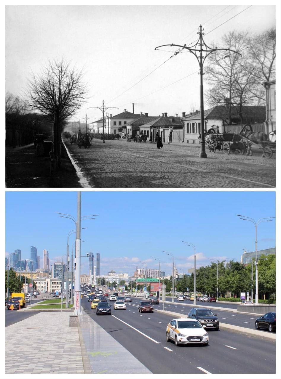 Садовое кольцо у Парка Горького в 1912 и в 2021 году
