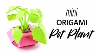 Mini Origami Pot Plant Tutorial - DIY - Paper Kawaii