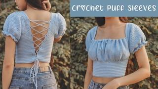 Easy Crochet Puff Sleeves Tutorial   Crochet Front Puff   Chenda DIY