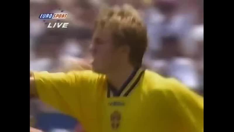 ЧМ 1994 Томас Бролин мяч в ворота сборной Болгарии