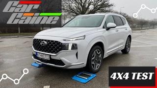 Hyundai Santa-Fe hybrid facelift 2021 4x4 Test on Rollers- CarCaine