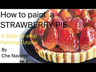 How to paint a strawberry pie   Tutorial   Acrylic Painting   Step by step   Art