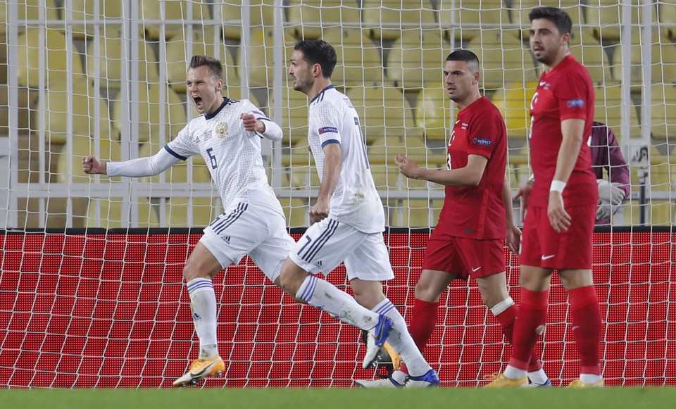Турция - Россия, 3:2. Лига Наций. Денис Черышев празднует гол