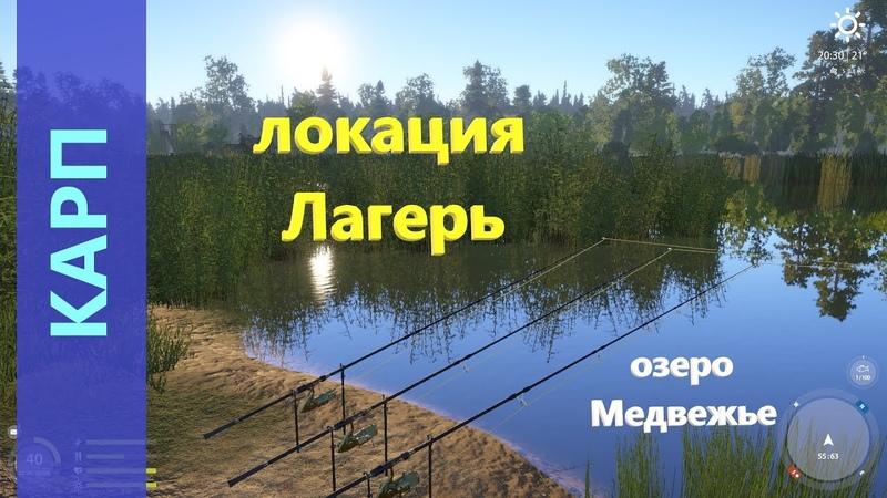 Русская рыбалка 4 озеро Медвежье Разведка боем Карп по всей локации