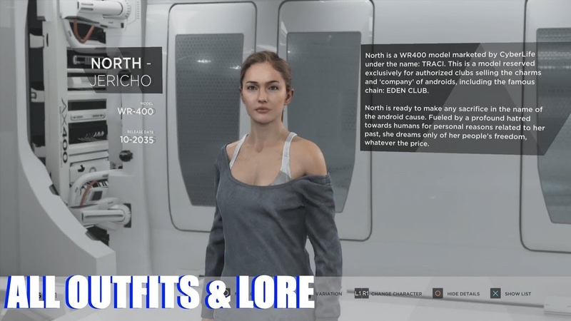 Detroit Become Human - All Outfits Character Lore (Unlocked Extras PS4 Pro)