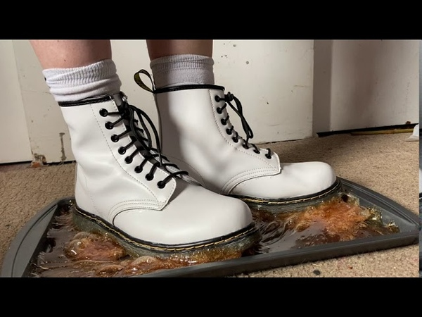 ⚪️🥾🔥🍬White Dr Martens boots stuck to sticky melted gummy bears hardened